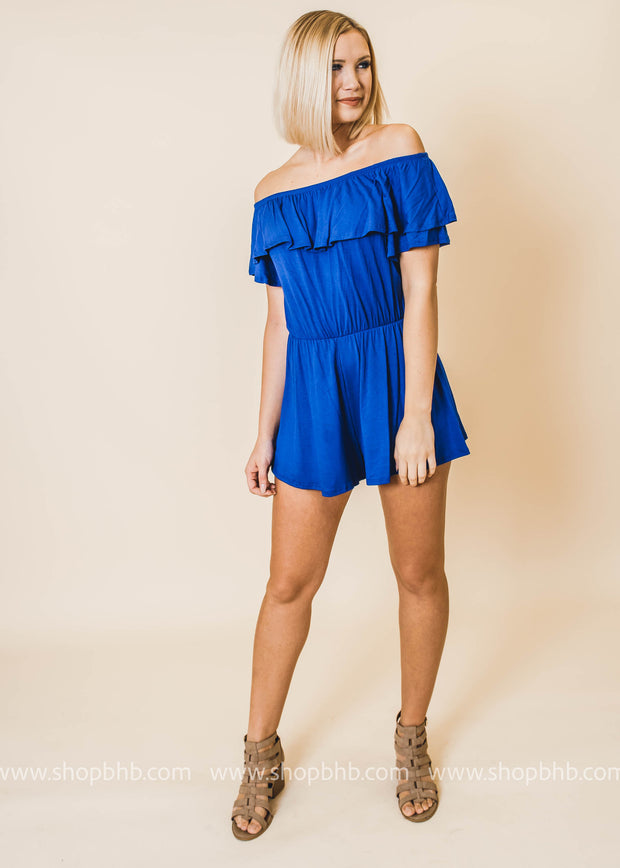 Off the Shoulder Ruffle Romper - Final Sale
