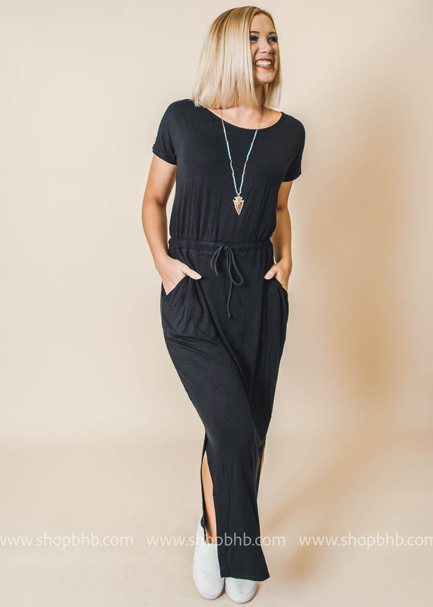black tshirt maxi dress pockets and elastic waist
