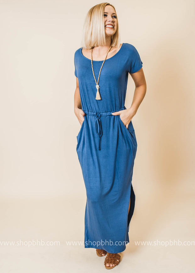 slate blue tshirt maxi dress pockets and elastic waist