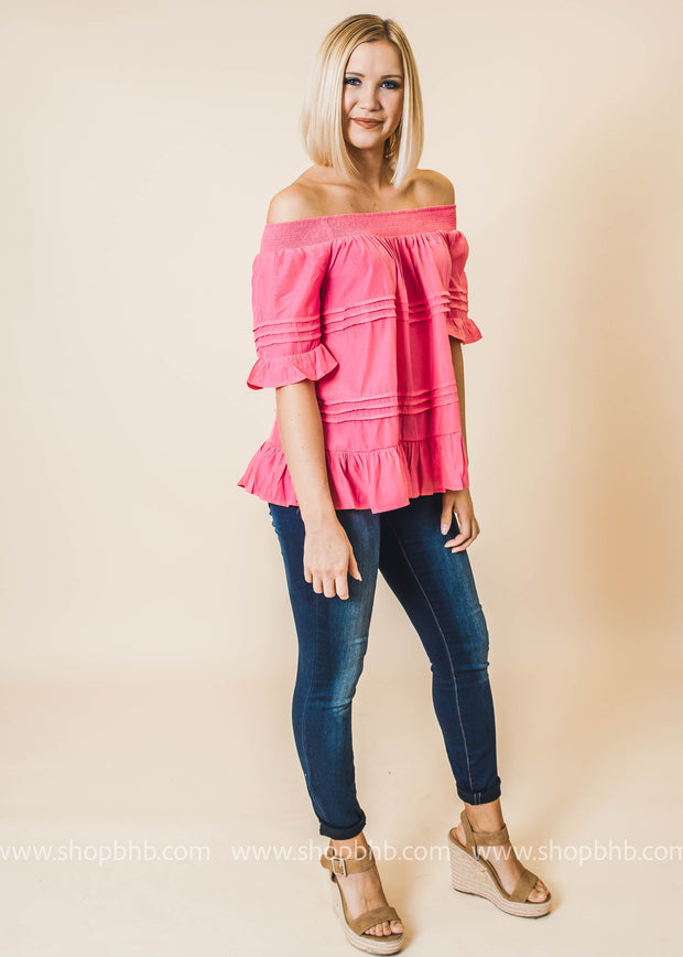 pink off the shoulder ruffle detail top
