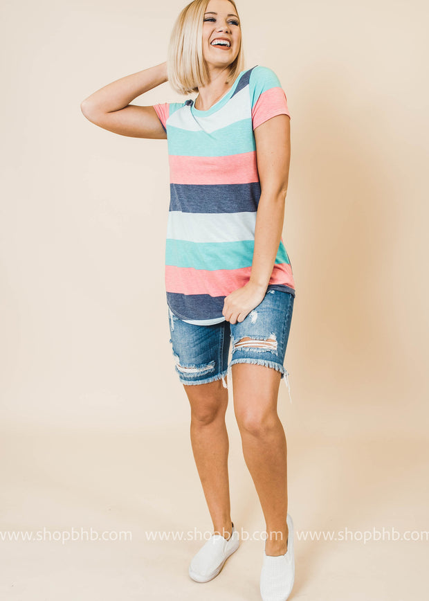 striped multi short sleeve top pink blue