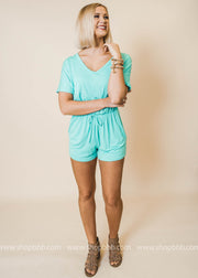 mint short sleeve vneck pocket back cutout detail romper
