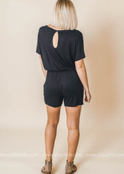 black short sleeve vneck pocket back cutout detail romper