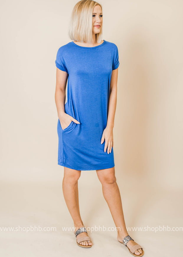 short sleeve pocket everyday dress royal
