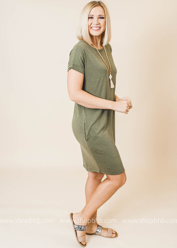 short sleeve pocket everyday dress olive