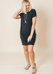 short sleeve pocket everyday dress black
