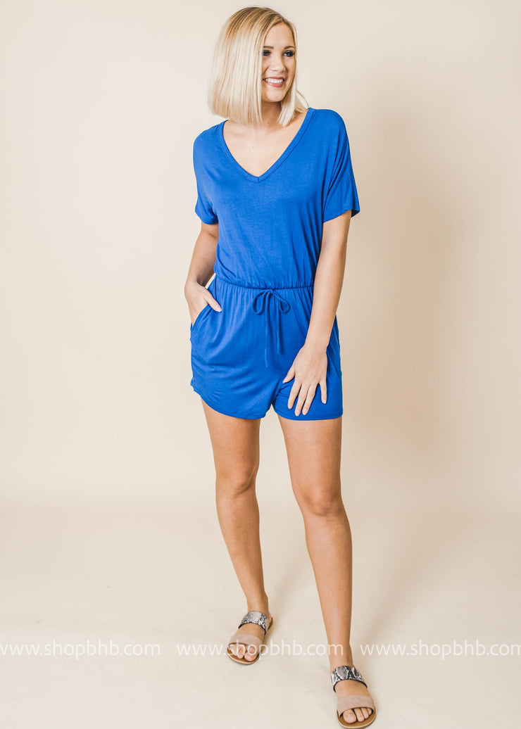 royal short sleeve vneck pocket back cutout detail romper