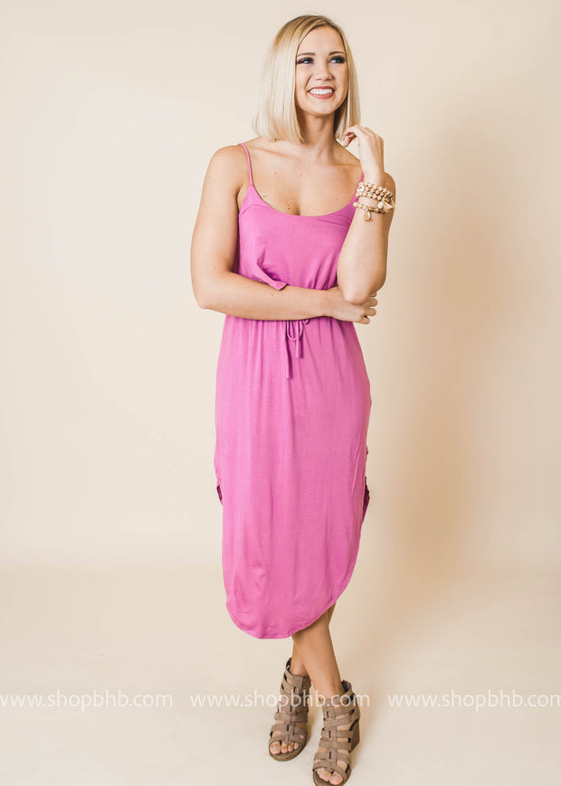 orchid sleeveless layered side slit dress