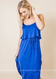 royal sleeveless layered side slit dress