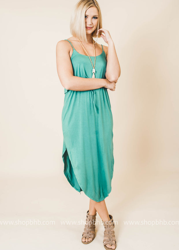 dusty green sleeveless layered side slit dress