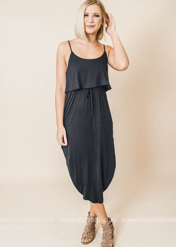 black sleeveless layered side slit dress