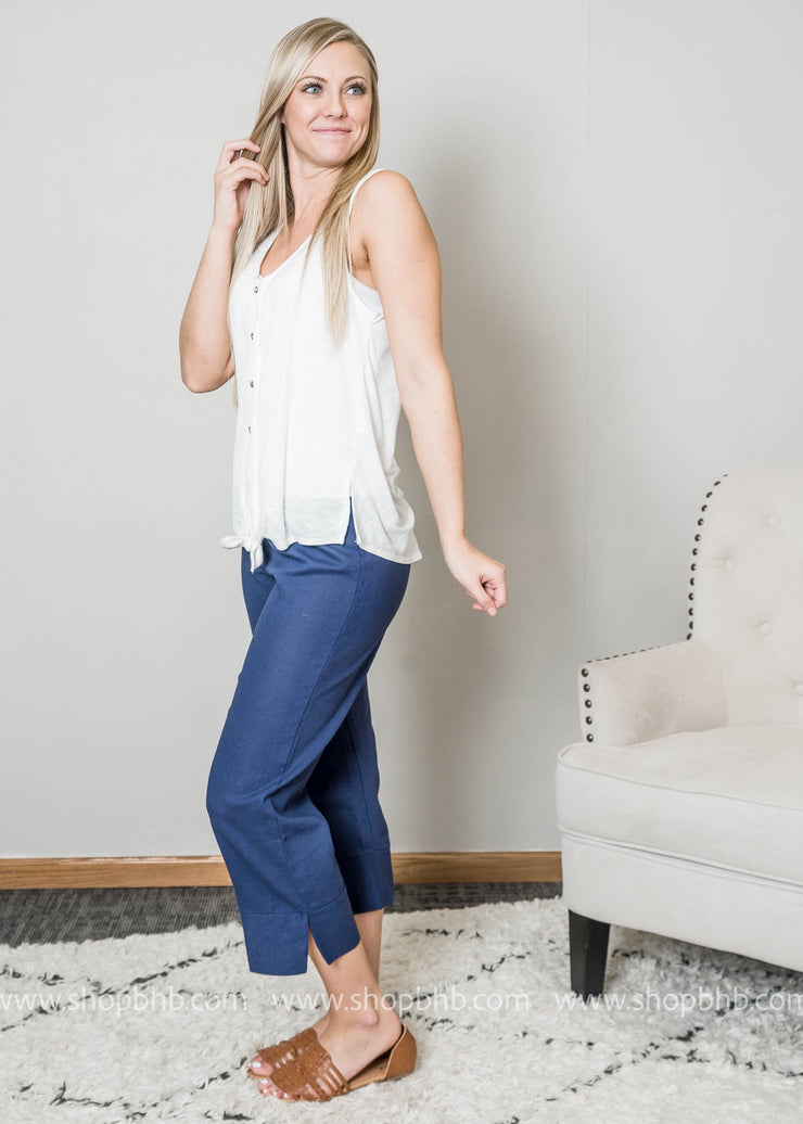 Linen Capri Navy Pants-FINAL SALE