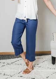 linen capri navy pants