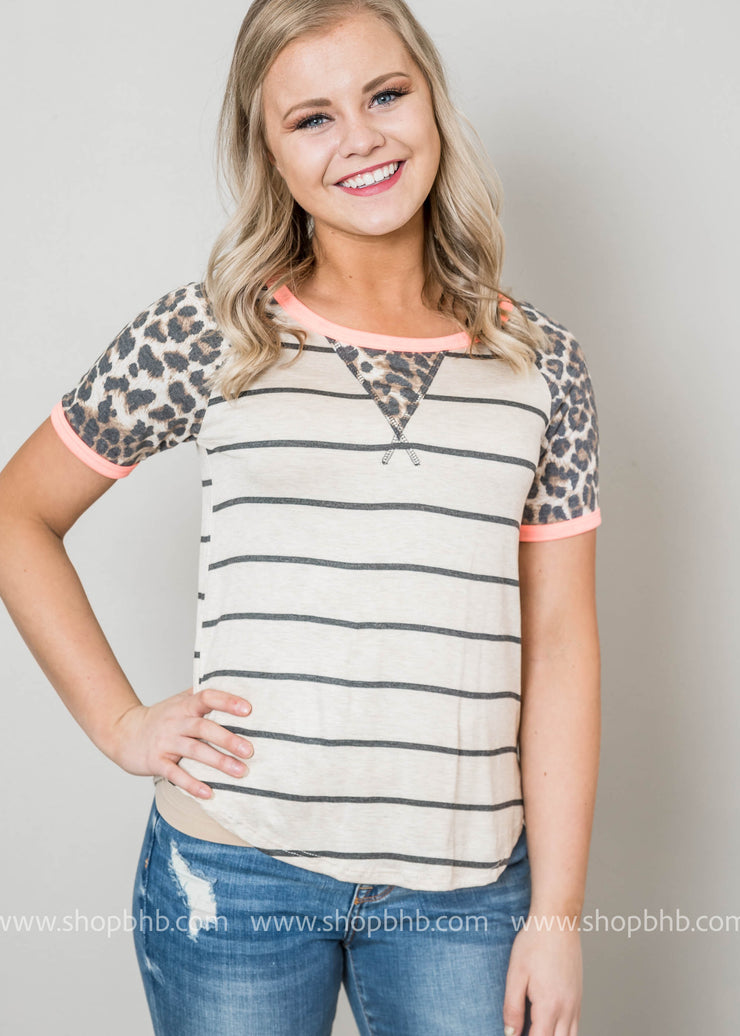 This cheetah raglan striped top is from our style box #3.