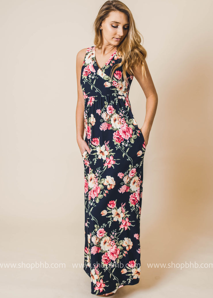 Navy Floral Maxi Dress is perfect spring and summer dress.
