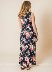 This navy floral maxi dress is truly adorable.