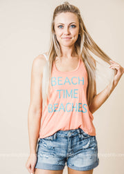 Beach Time Beaches Tank Top Coral, GRAPHICS, BAD HABIT BOUTIQUE , BAD HABIT BOUTIQUE