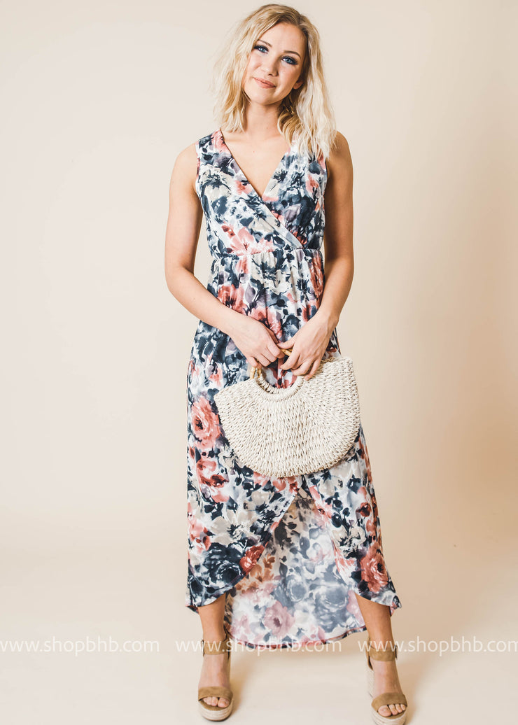 Spring Floral High Low Maxi Dress