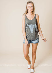 Wild n Free Bullskull Tank, CLOTHING, BAD HABIT APPAREL, BAD HABIT BOUTIQUE