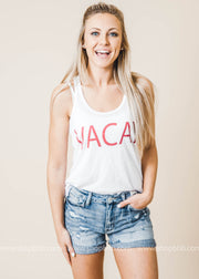 vacay tank top white red