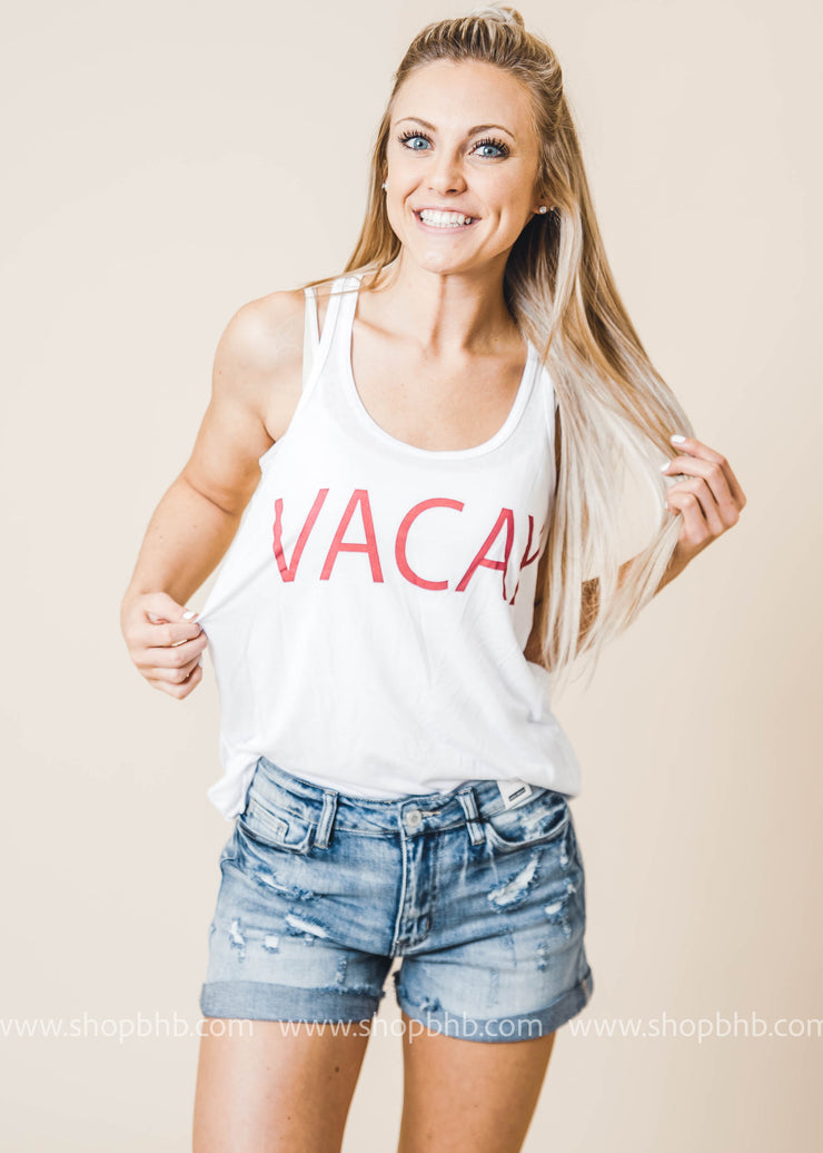 vacay red white tank