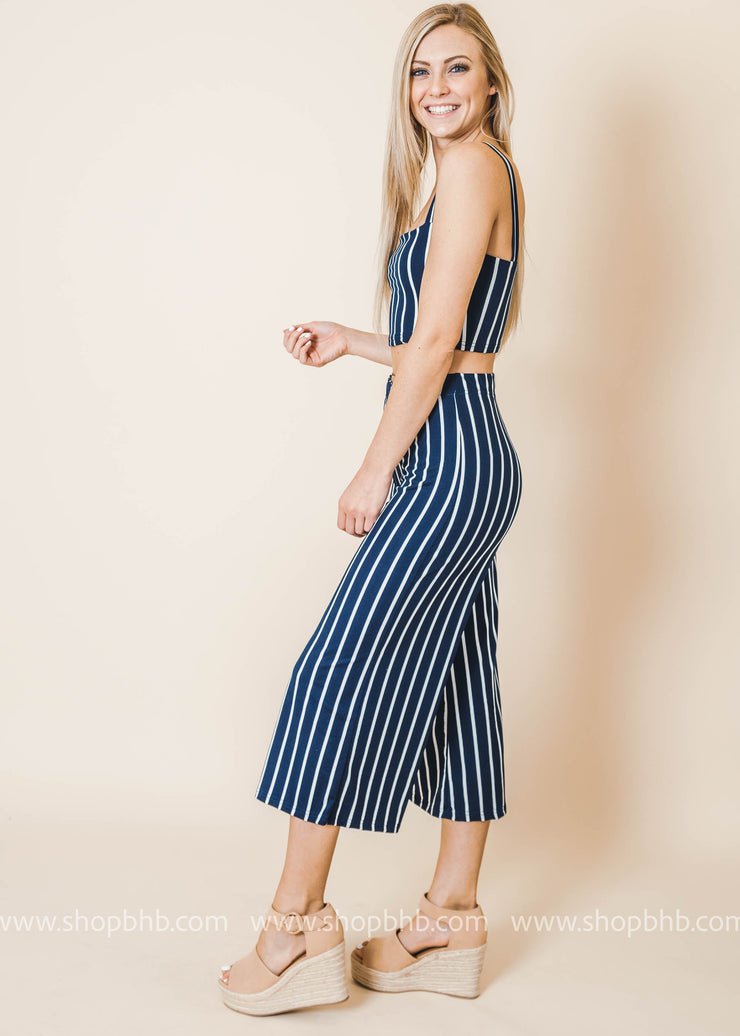 striped top and bottom set navy