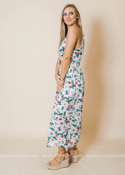 floral halter dress keyhole