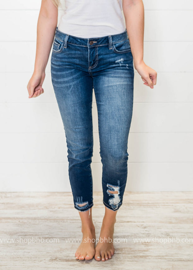 These Mid Rise Distressed Ankle Skinny Jeans are perfect to style with your booties!