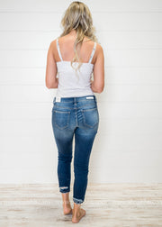 Check out the back of these Cello Mid Rise Ankle Skinny Jeans!