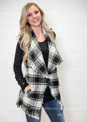Frayed Edge Plaid Vest-Black/White, VESTS, E2 Clothing, badhabitboutique