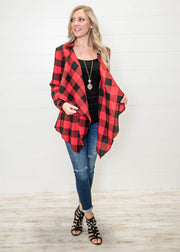 To style your red and black buffalo plaid cardigan with a pair of distressed denim or black skinny jeggings depends on you!