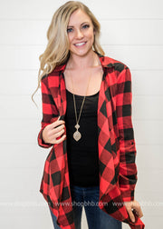 Style this red and black buffalo plaid draped cardigan with a basic black tee or fun graphic to complete the blogger look.