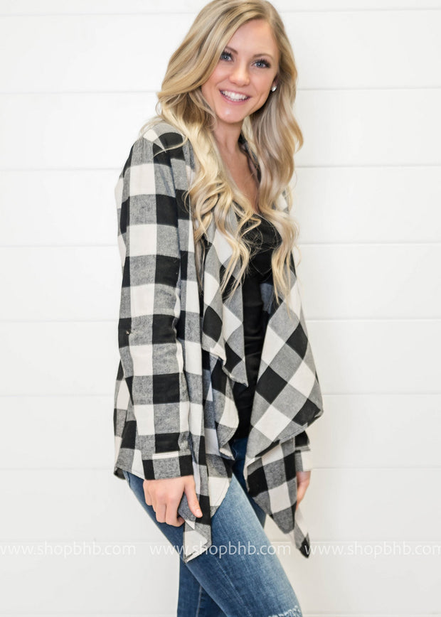 Loving the style of the ivory and black buffalo plaid draped cardigan.