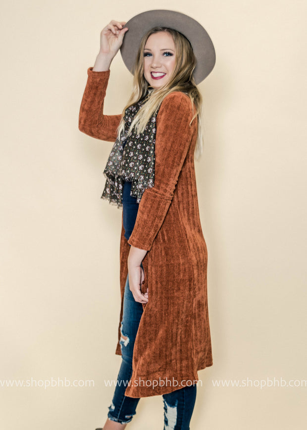 This ribbed rust cardigan duster has the softest chenille like feel ever!!!