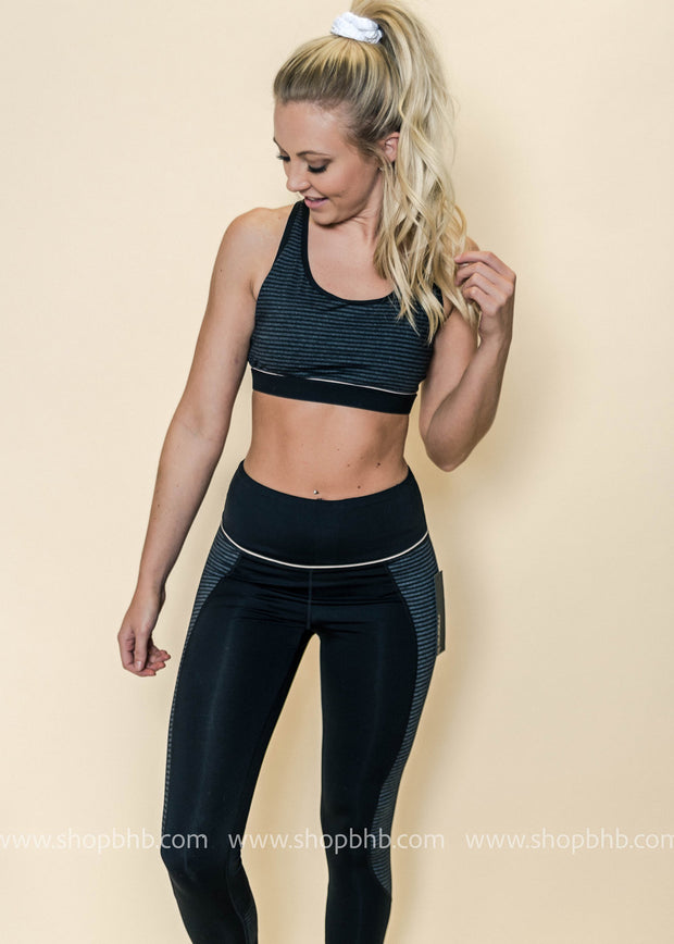 Block Stripe Print Cut-Out Racerback Sports Bra | Black, ACTIVEWEAR, Mono B, badhabitboutique