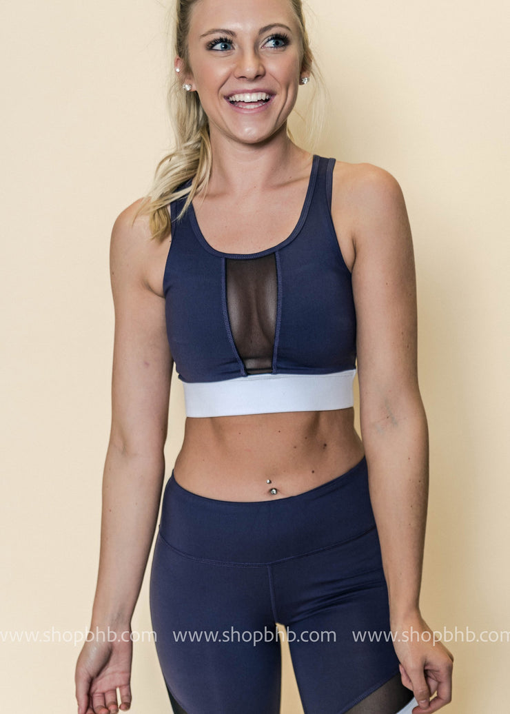 Colorblock Band Mesh Sports Bra | Violet, ACTIVEWEAR, Mono B, BAD HABIT BOUTIQUE