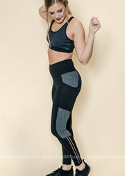 Highwaist Diamond Textured Printed Leggings | Black, ACTIVEWEAR, Mono B, badhabitboutique