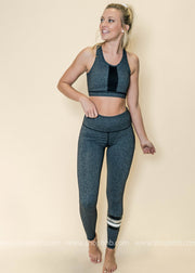 Highwaist Four Stripes Leggings | Gray, ACTIVEWEAR, Mono B, badhabitboutique