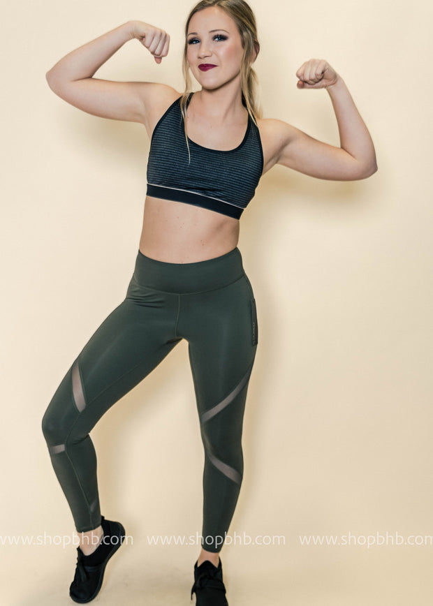 Cross Meshed Panels Leggings | Olive, ACTIVEWEAR, Mono B, badhabitboutique