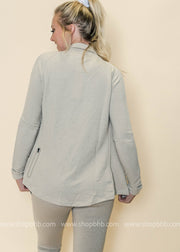 Thumb-Hole Zip-Up Jacket | Taupe