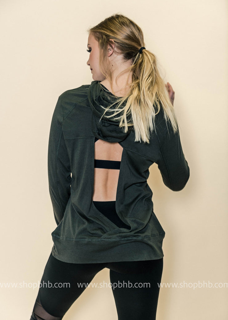 Triangle Cutout Back Hoodie Sweatshirt | Brown