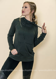 Triangle Cutout Back Hoodie Sweatshirt is a comfortable alternative for the cooler days.