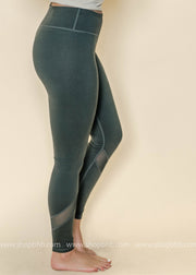 Slanted Mesh Shin Panels Leggings