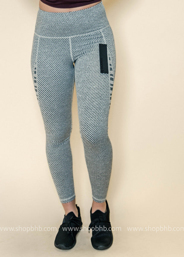 Highwaist Woven and Trellis Mesh Combo Leggings | Gray, ACTIVEWEAR, Mono B, badhabitboutique