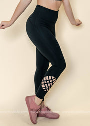 Highwaisted Globe Lattice Grid Leggings | Black, ACTIVEWEAR, Mono B, badhabitboutique