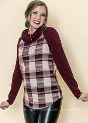 A Beautiful Burgundy Plaid - Color Block Cowl Neck Top, TOPS, First Look, badhabitboutique
