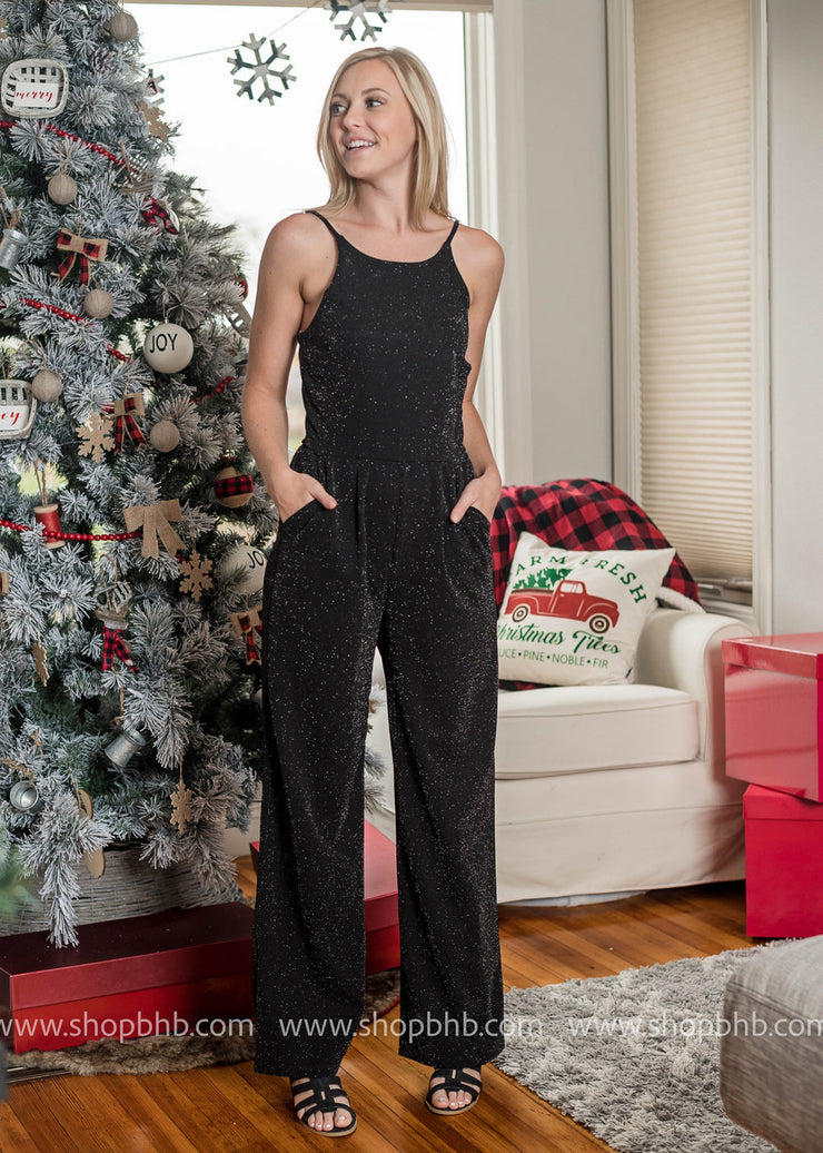 All That Glitters Jumpsuit-Black, JUMPSUITS, Gilli, BAD HABIT BOUTIQUE