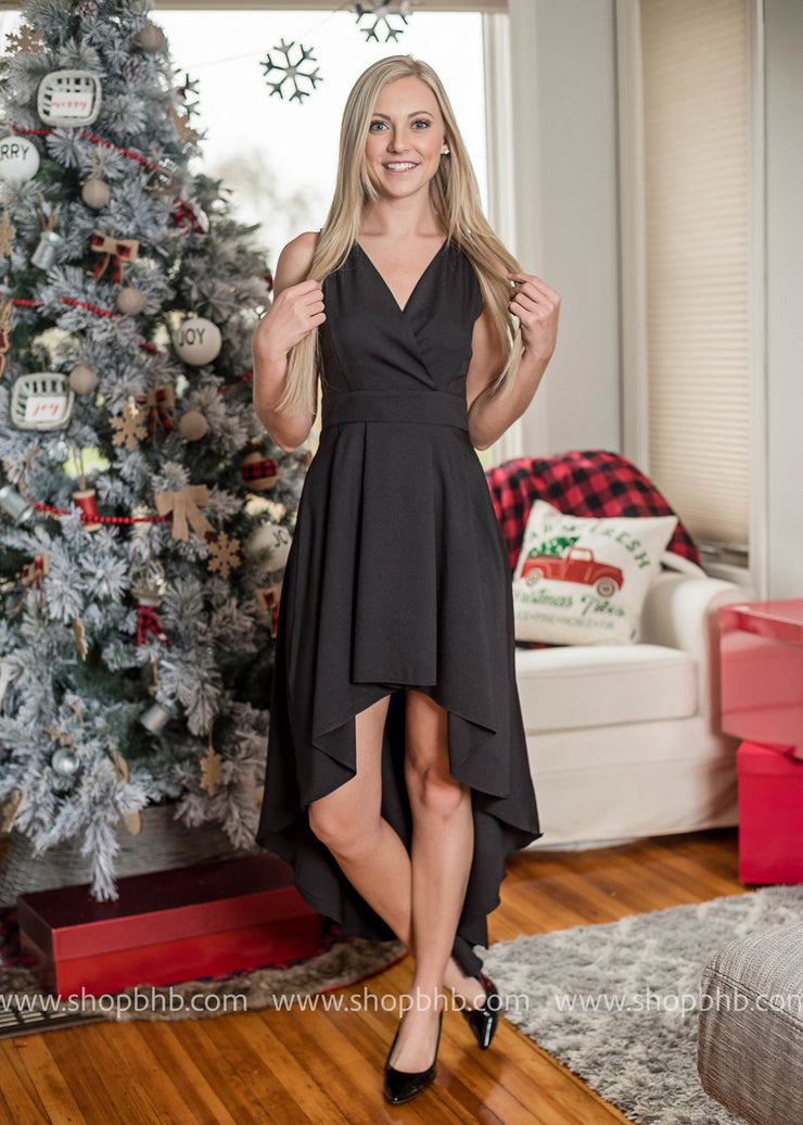 This elegant v-neck high-low dress is the perfect holiday party dress!