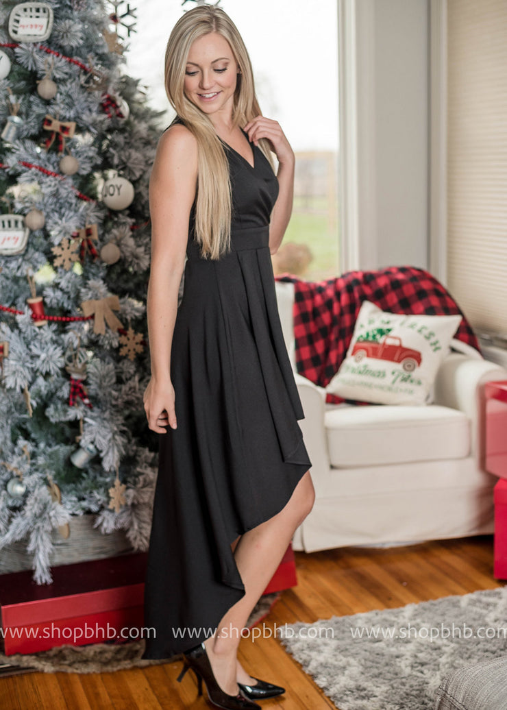 When needing that Little Black Dress for those holiday events, this black high-low party dress is perfect for the occassion.