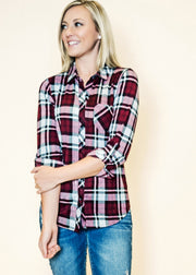 Our burgundy plaid is the perfect top to layer with, under sweaters or over graphics.